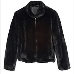 BANANA REPUBLIC Faux Fur Bomber Jacket NWT L Black